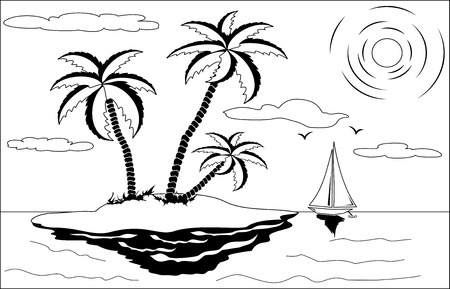 breaking wave: Black and white tropical landscape with palm tree, sun, seagulls and yacht
