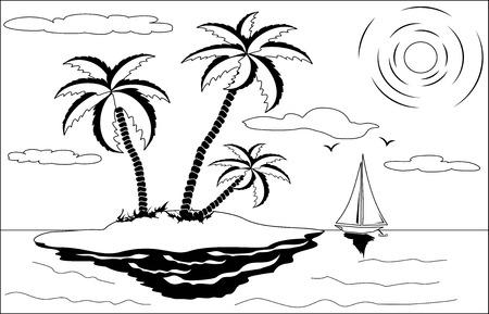 Blanco y negro paisaje tropical con palmeras, sol, gaviotas y barco Ilustración de vector