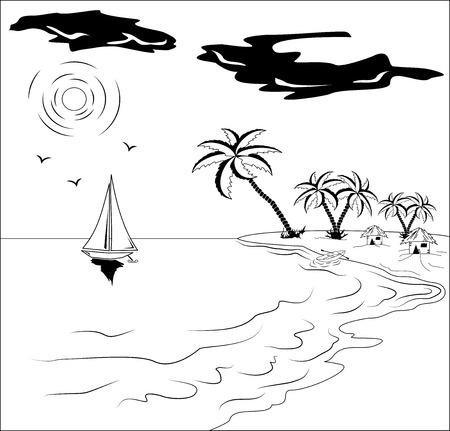 Blanco y negro paisaje tropical con palmeras, sol, gaviotas y barco