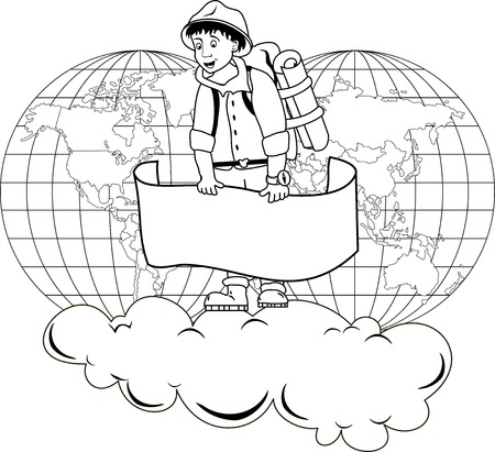 reiziger: Illustratie van de reiziger die een banner op de achtergrond van de wereldkaart Stock Illustratie