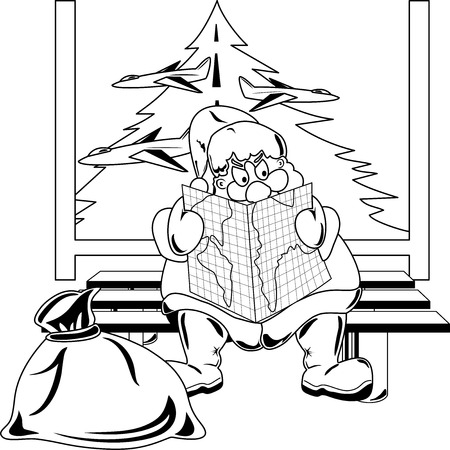 selecting: Santa Claus selecting a route for the Christmas travel at the airport Illustration