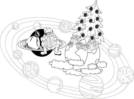 selects: Babbo Natale seduto con una mappa sugli anelli del pianeta, e seleziona il percorso Vettoriali