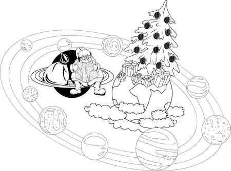 selects: Santa Claus sitting with a map on the rings of the planet, and selects the itinerary