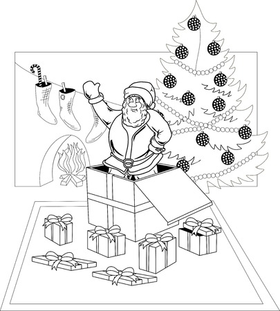 Smiling Santa Claus jumped out of a gift box Vector