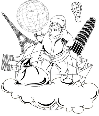 Illustration of smiling Santa Claus holding a globe Vector