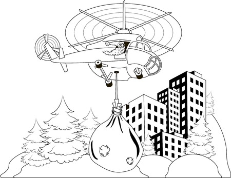 Happy Santa Claus flying in helicopter with christmas gifts Vector