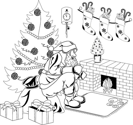 Santa Claus sitting by the fire in the room with Christmas tree. Vector