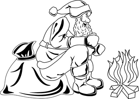 Illustration of Santa Claus sitting by the fire Vector
