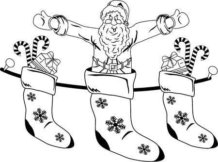 christmas motive: Christmas motive, object Stocking with Santa and gifts.