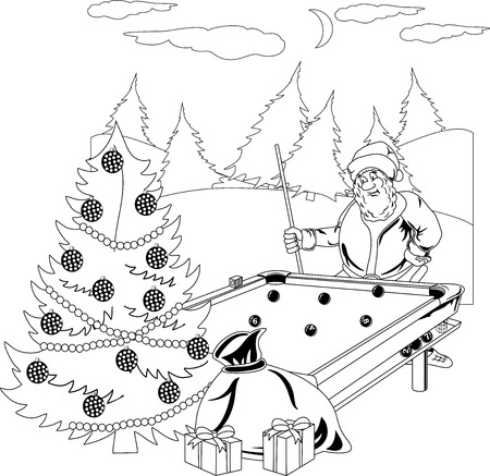 billiards tables: Santa Claus playing billiards in the winter forest