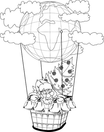 klaus: Santa Claus in a balloon with gifts and fir tree Illustration