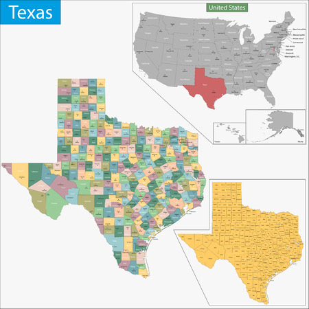 Map of Texas state designed in illustration with the counties and the county seats 向量圖像