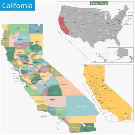 Carte de l'État de Californie conçu dans l'illustration avec les comtés et les sièges de comté Vecteurs