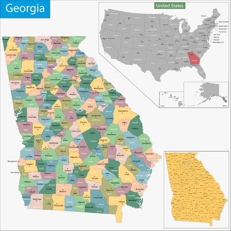 georgia: Map of Georgia state designed in illustration with the counties and the county seats