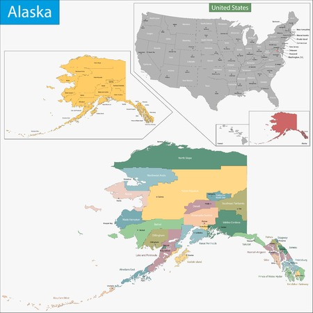politically: Map of Alaska state designed in illustration with the counties and the county seats
