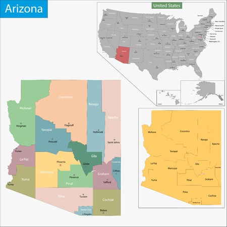 arizona: Map of Arizona state designed in illustration with the counties and the county seats