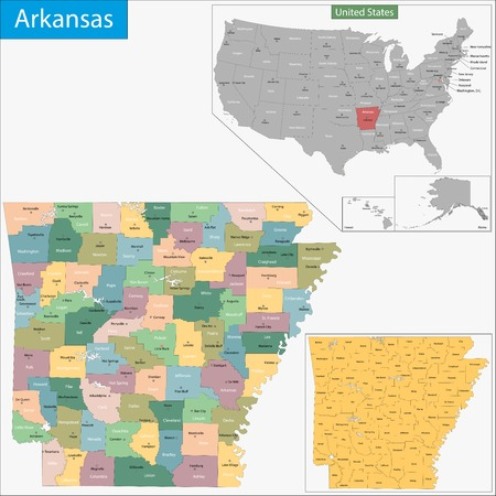 Map of Arkansas state designed in illustration with the counties and the county seats