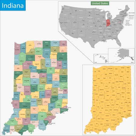 geographically: Map of Indiana state designed in illustration with the counties and the county seats