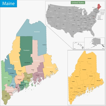 geographically: Map of Maine state designed in illustration with the counties and the county seats Illustration