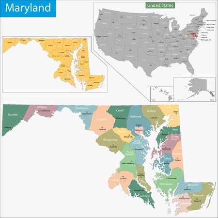 郡と郡座席図に設計されたメリーランド州の地図  イラスト・ベクター素材