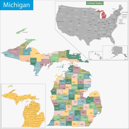 Map of Michigan state designed in illustration with the counties and the county seats Vector