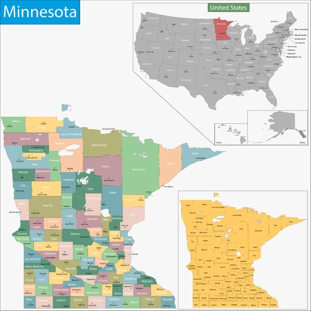 minnesota: Map of Minnesota state designed in illustration with the counties and the county seats