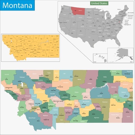 Map of Montana state designed in illustration with the counties and the county seats