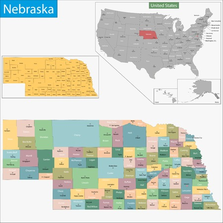 geographically: Map of Nebraska state designed in illustration with the counties and the county seats