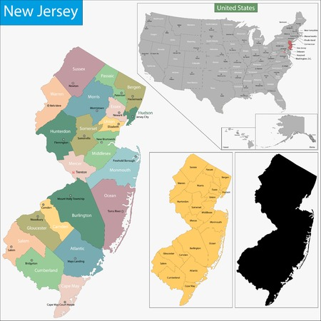 Map of New Jersey state designed in illustration with the counties and the county seats 矢量图像