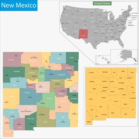 albuquerque: Map of New Mexico state designed in illustration with the counties and the county seats