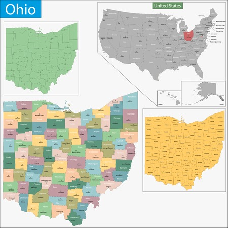 state: Map of Ohio state designed in illustration with the counties and the county seats