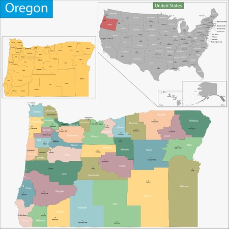 geographically: Map of Oregon state designed in illustration with the counties and the county seats