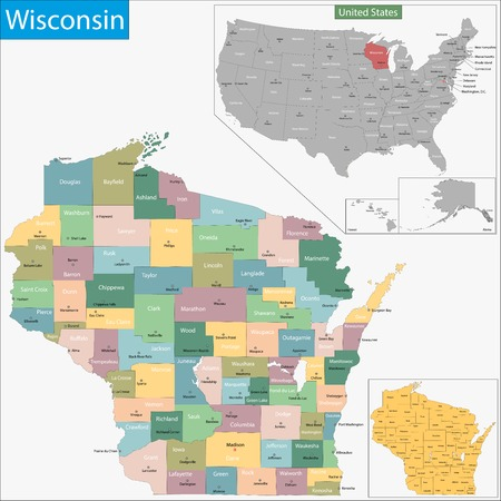 geographically: Map of Wisconsin state designed in illustration with the counties and the county seats