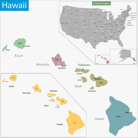 politically: Map of Hawaii state designed in illustration with the counties and the county seats Illustration