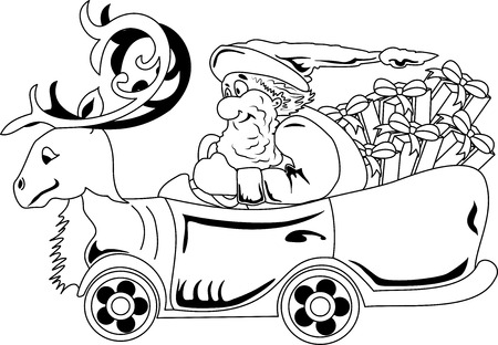 Illustration of Santa Claus driving car with Christmas that looks like a deer  イラスト・ベクター素材