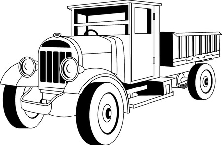 classic cars: Black and white vintage cargo truck on white background.