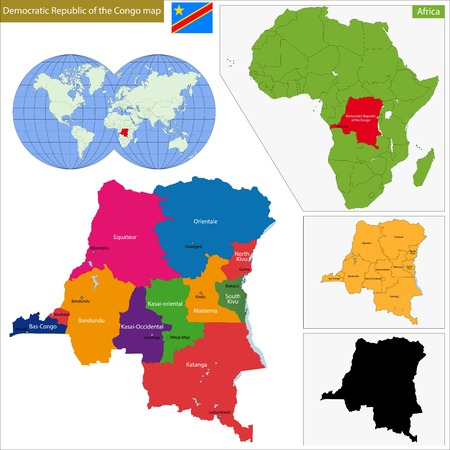 democratic republic of the congo: Map of Democratic Republic of the Congo with high detail and accuracy and it is divided into provinces which are colored with different bright colors Illustration