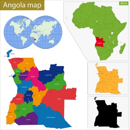 geographically: Angola map with high detail and accuracy and it is divided into provinces which are colored with different bright colors Illustration