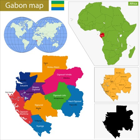politically: Gabon map with high detail and accuracy and it is divided into provinces which are colored with different bright colors