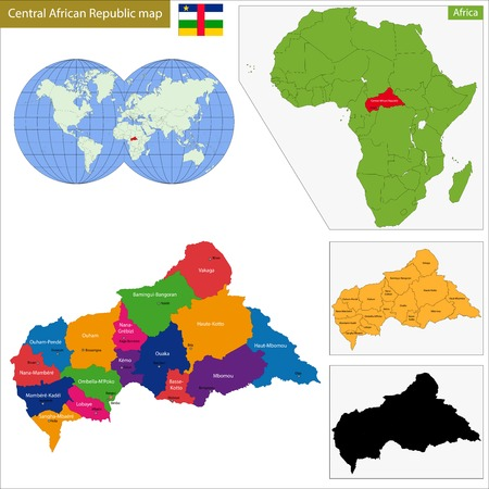 landlocked country: Map central African Republic with high detail and accuracy and it is divided into provinces which are colored with different bright colors Illustration