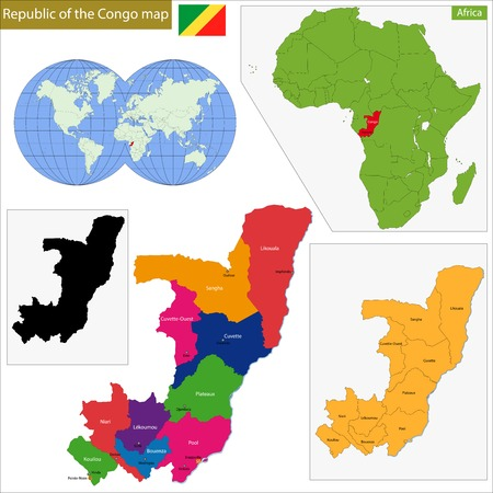 republic of the congo: Map of Republic of the Congo with high detail and accuracy and it is divided into provinces which are colored with different bright colors Illustration