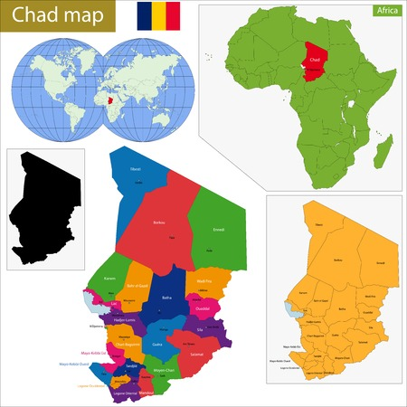 politically: Chad map with high detail and accuracy and it is divided into provinces which are colored with different bright colors