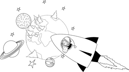 yule tide: Illustration of Santa flying on a rocket in the starry sky Illustration