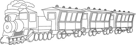 railway engine: Illustration of retro locomotive with wagons on white background Illustration