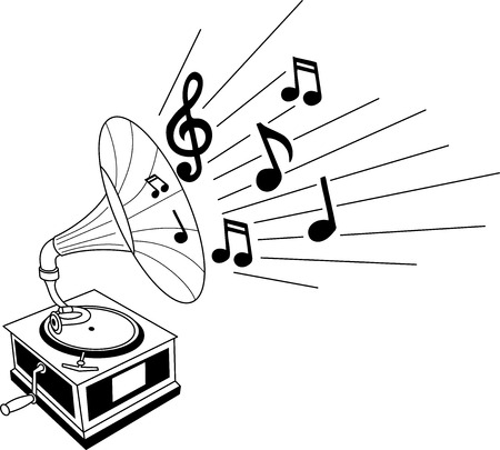 speaker box: Black and white illustration of a gramophone with musical notes