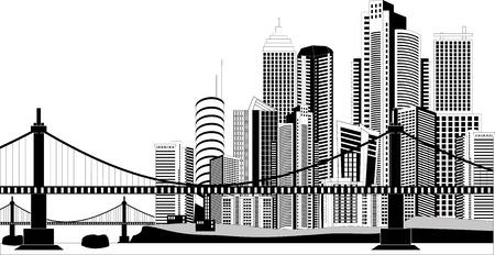 bridgework: Black and white illustration of a cityscape Illustration