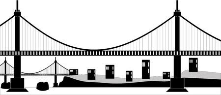 suspension: Ilustration of a suspension cable bridge, black silhouette