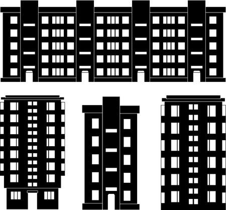 シルエットのモダンな家セット白で隔離されるの図