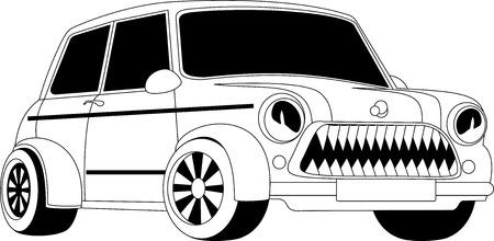 carro caricatura: Ilustraci�n en blanco y negro de un coche de la historieta