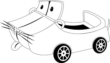 Black and white illustration of a cartoon car Vector